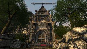 Architektura Enderalu v podobě kameného chrámu.