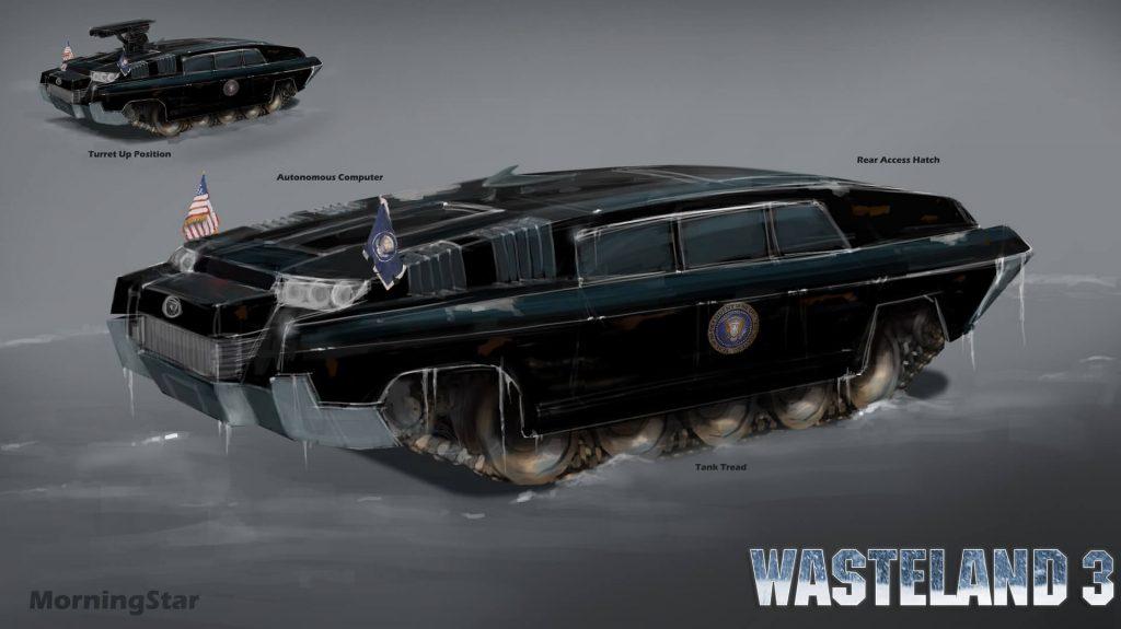 Koncept art auta vyrobeného pro Regana s AI nenávidící komunisty, pro hru Wasteland 3