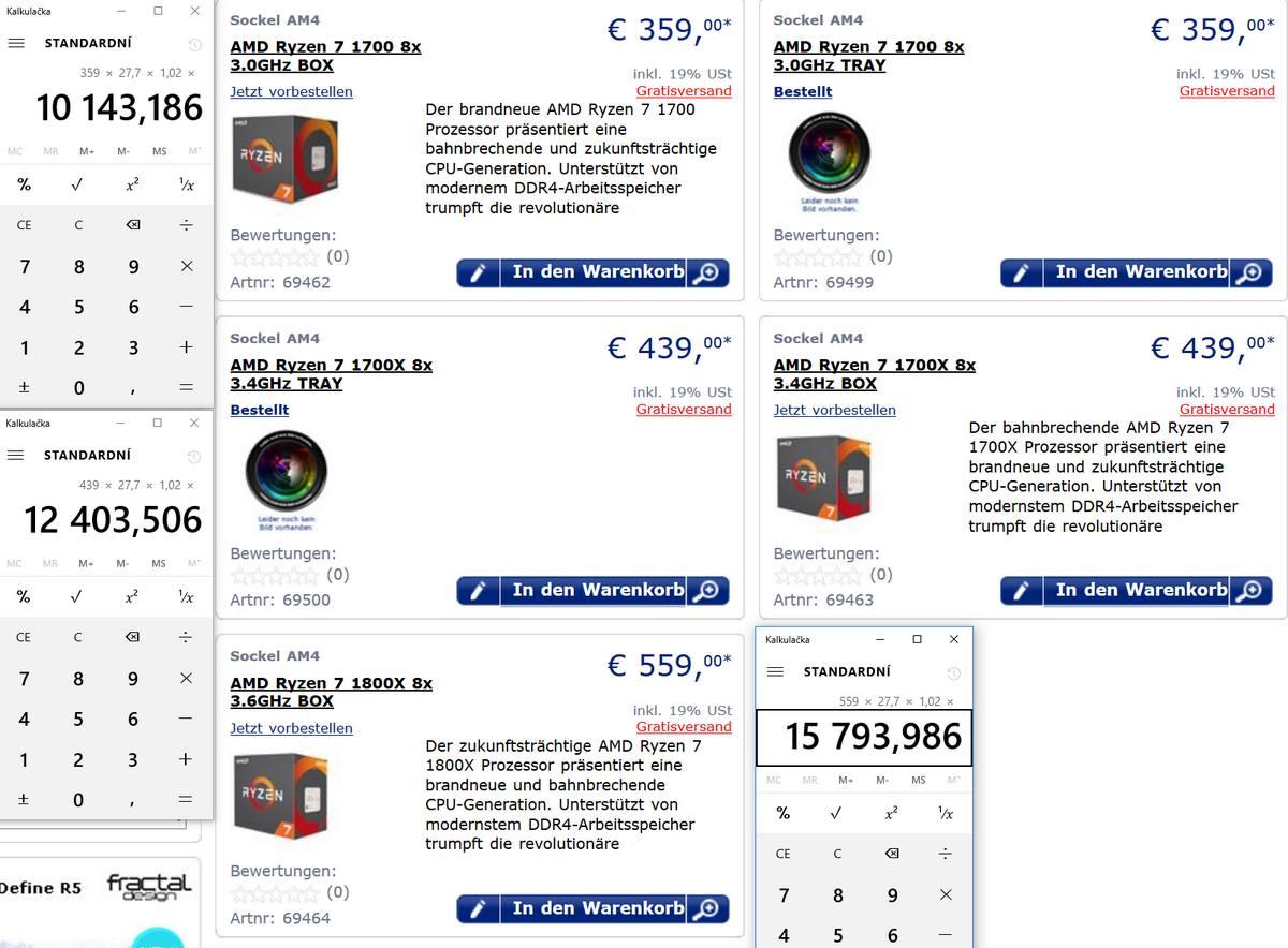 AMD Ryzen ceny v EU a ČR