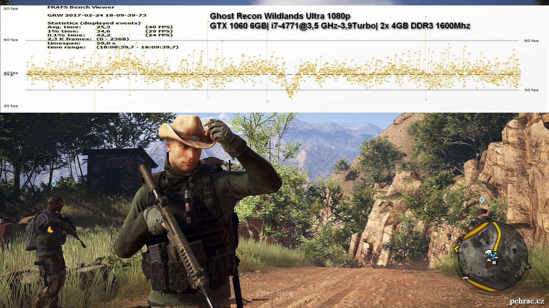 Průběh FPS hry Tom Clancy's Ghost Recon Wildlands na Ultra v 1080p