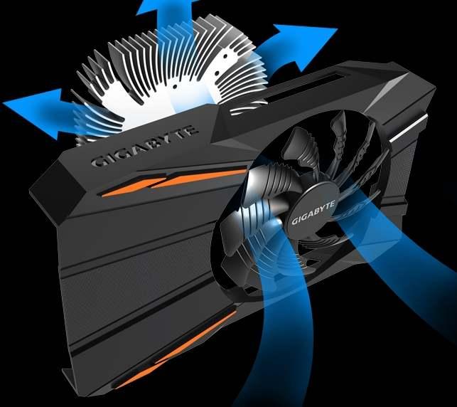Gigabyte gtx 1050 Ti D5 4g detail chlazení