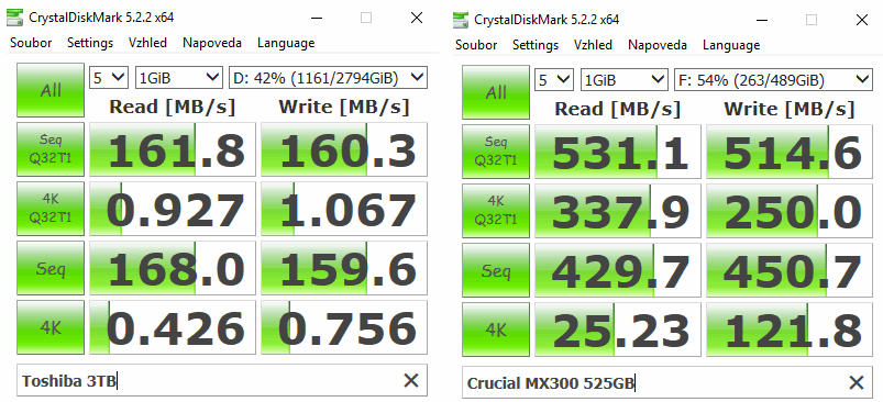 crystalDiskMark benchmark ssd vs hdd