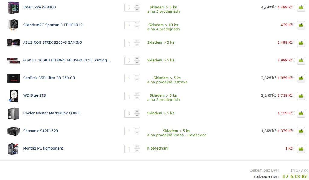 f4f42021de Herní PC s i5-8400 za 17 600 Kč (bez GK a Win 10)