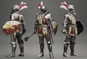 Ve hře si budete moci nasadit i toto parádní rytířské plátové brnění, popsané jako Knight's Tabard Armor Upgrade.